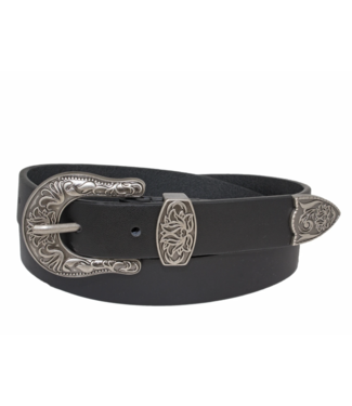 SILVER JEANS WESTERN STYLE GENUINE LEATHER BELT WITH LOTUS