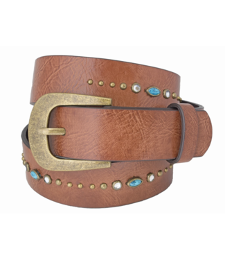 SILVER JEANS GENUINE LEATHER BELT WITH EMBELLISHMENT