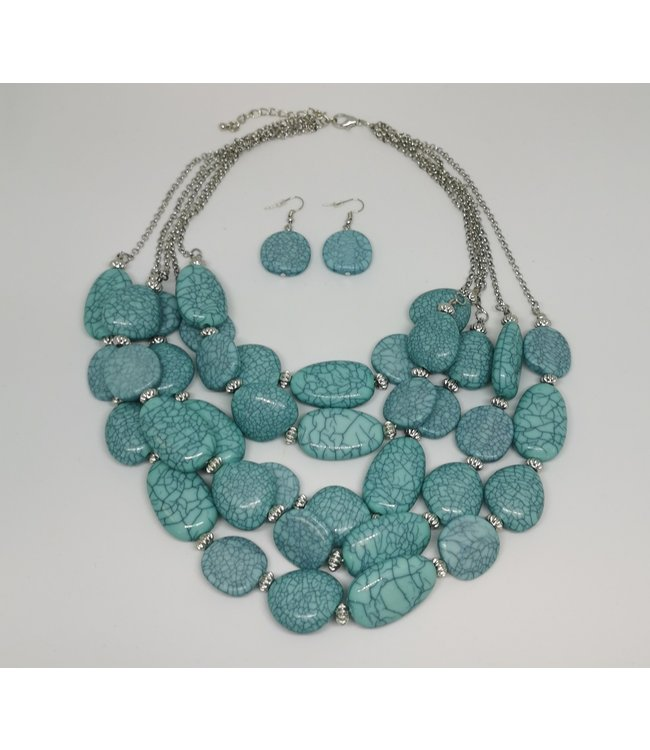 Turquoise Stone Necklace with Earrings