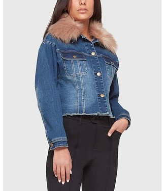 LOLA cropped denim jacket with removable faux fur collar for versatile styling