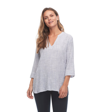 FDJ FRENCH DRESSING Crinkled Stripe Tunic Blouse With 3/4 Sleeves