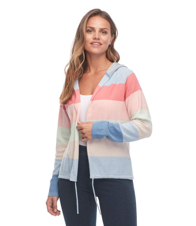 Rainbow Stripe Long Sleeve Hoodie Cardigan