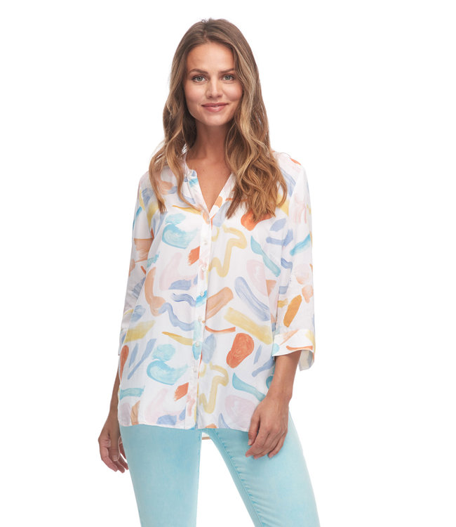 ARTSY ABSTRACT PRINT 3/4 SLEEVE BLOUSE