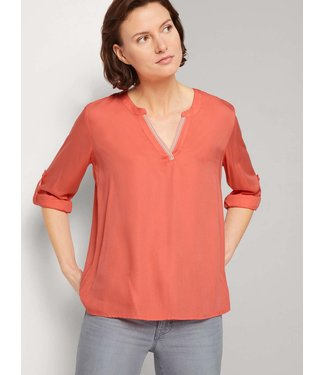 TOM TAILOR Blouse Solid With Tape Detail