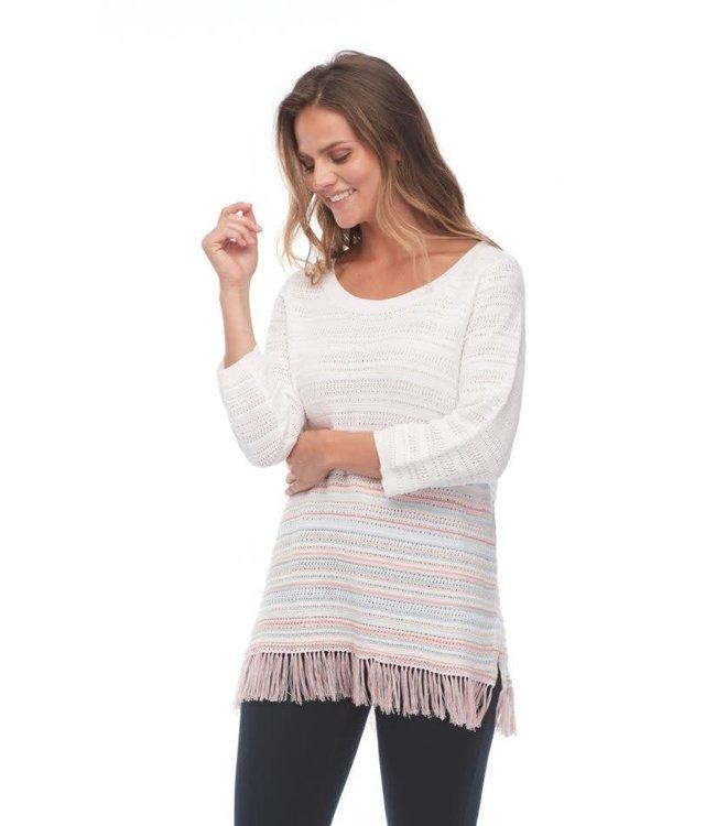 Mesh Knit Soft Stripe Fringed Sweater