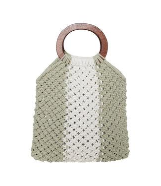 ICHI Crochet BOHO Satchel with wood handles