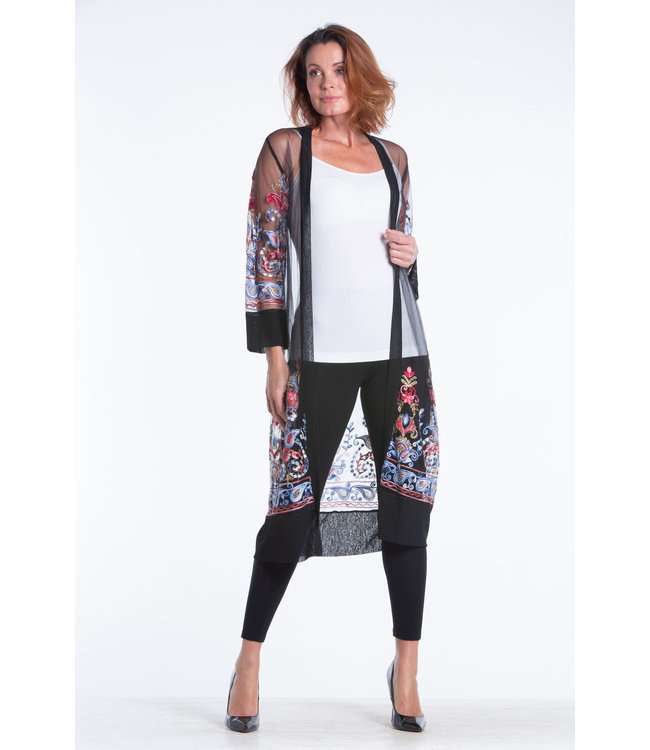 Long Embroidered Full Length Sheer Cardigan