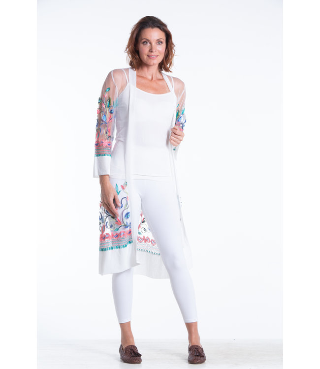 Embroidered Long Open Cardigan