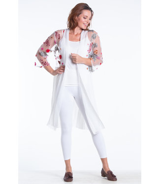 Nu Look Fashions Open Cardigan Sheer With Floral Embroidery