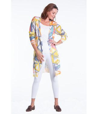 Nu Look Fashions Geometric Print Open Cardigan Multicoloured