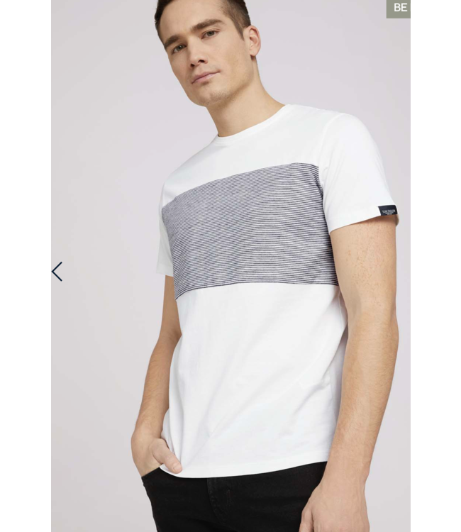 T-shirt with striped insert