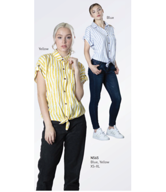Nu Look Fashions Short Sleeve Button Up Top with Tie