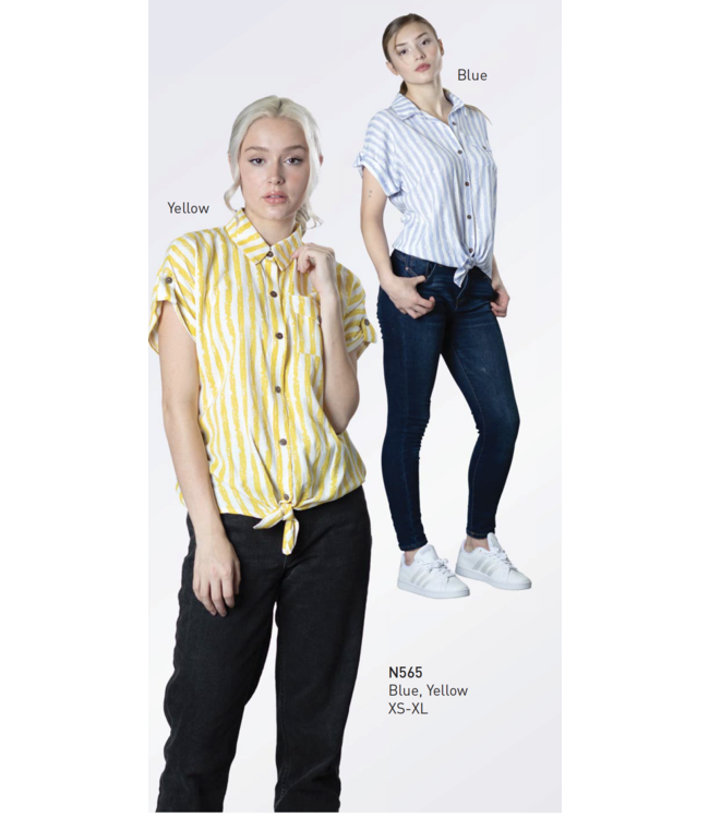 Short Sleeve Button Up Top with Tie