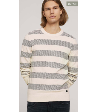 TOM TAILOR Striped structured crewneck made with organic cotton