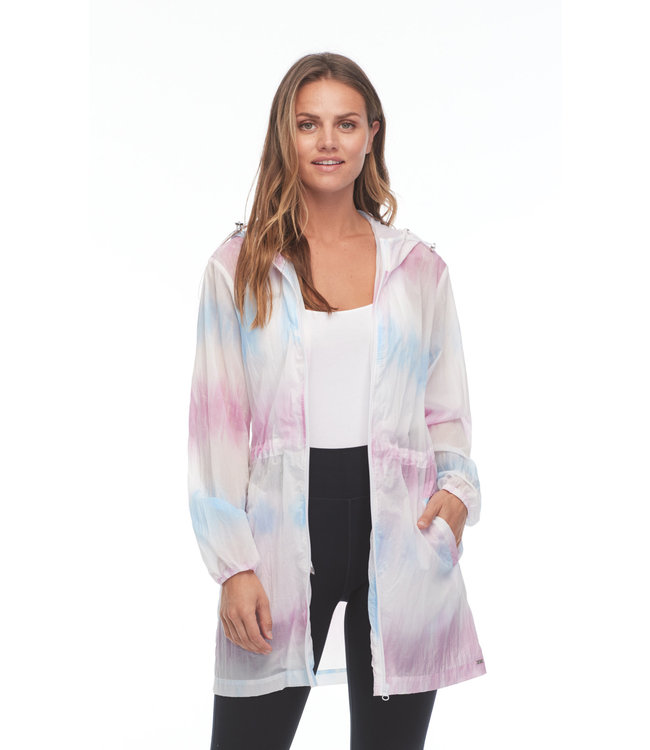 TIE-DYE HOODED JACKET WITH DRAWSTRING WAIST