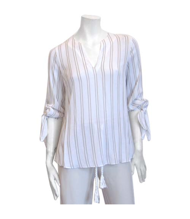 Long Sleeve  Blouse with Ties
