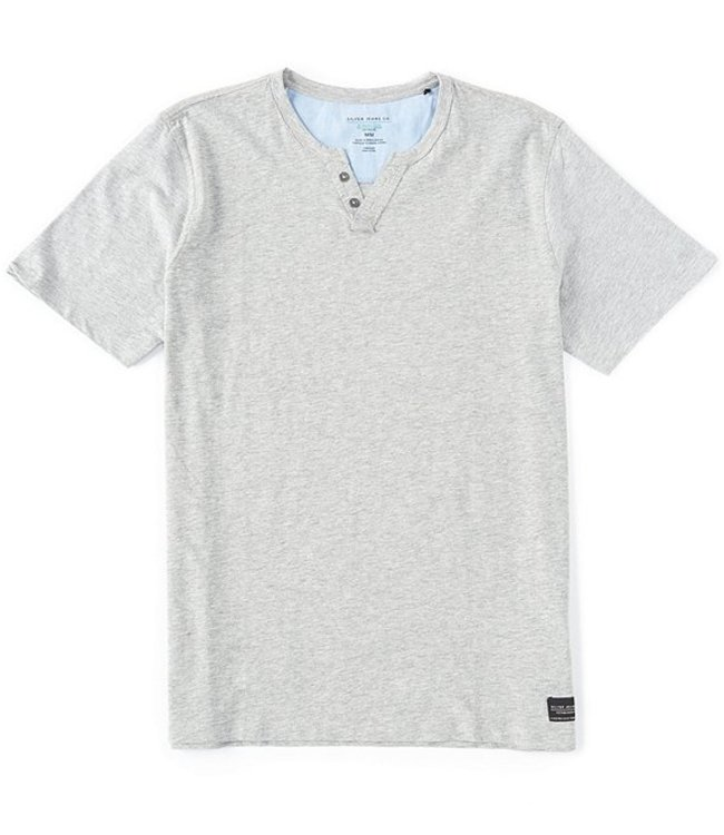 SILVER JEANS Silver Jeans Co. Short-Sleeve Organic Henley Shirt