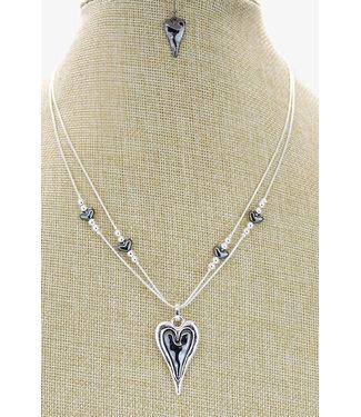 KENNETH BELL PEWTER HEART SHORT NECKLACE W/ EARRINGS