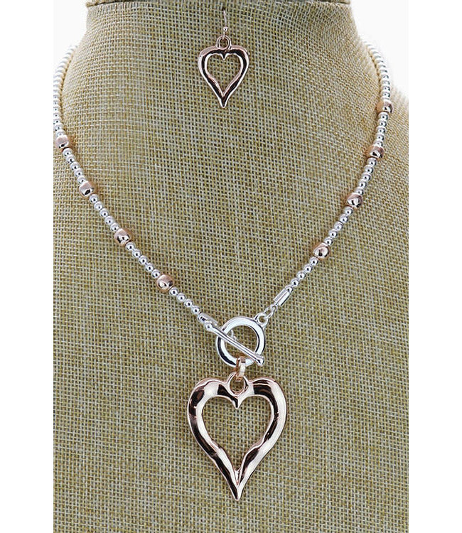 KENNETH BELL ROSE GOLD BEAD SHORT NECKLACE W/ EARRINGS
