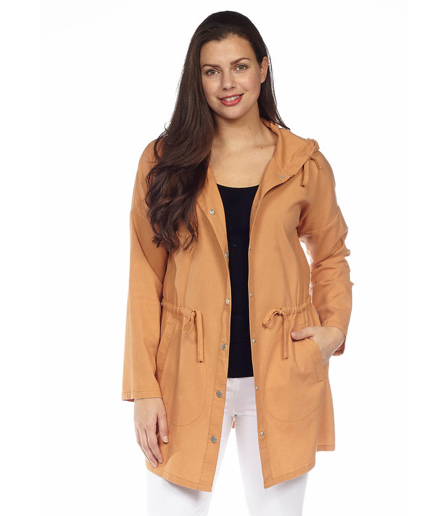 Long Sleeve Loose Fit Hooded Jacket with Waist Drawstring and Pockets