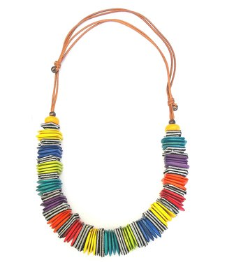 KENNETH BELL RAINBOW TRIBAL SQUARES NECKLACE