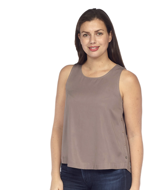 Sleeveless Top with Shirttail Hem and Side Seam Button Details