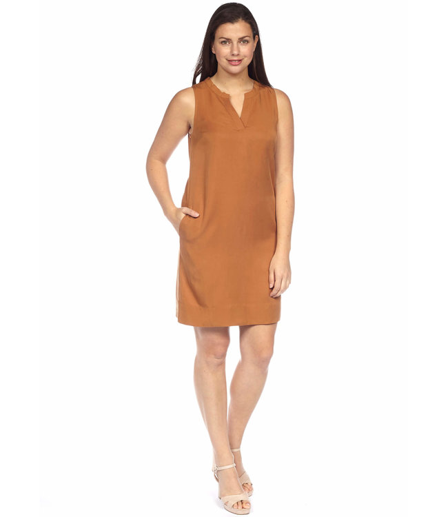 Sleeveless Dress with Notched V Neckline, Inverted Back Pleat and Pockets
