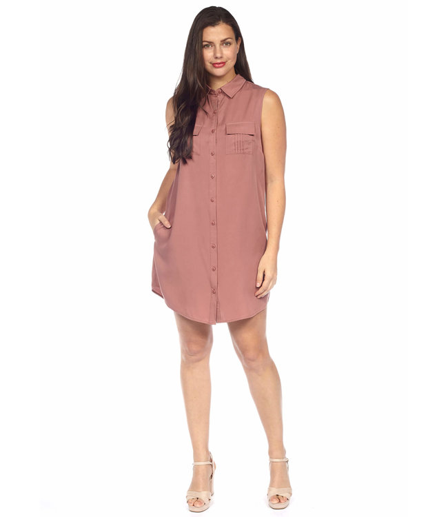 Sleeveless Button Front Shirt Dress with Chest and Side Pockets
