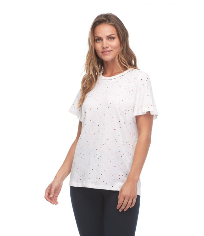 CONFETTI HEARTS PRINTED FLARE SLEEVE TOP WITH TRIM DETAIL