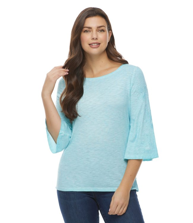 BALLET NECK TOP WITH EMBROIDERED FLARE 3/4 SLEEVES