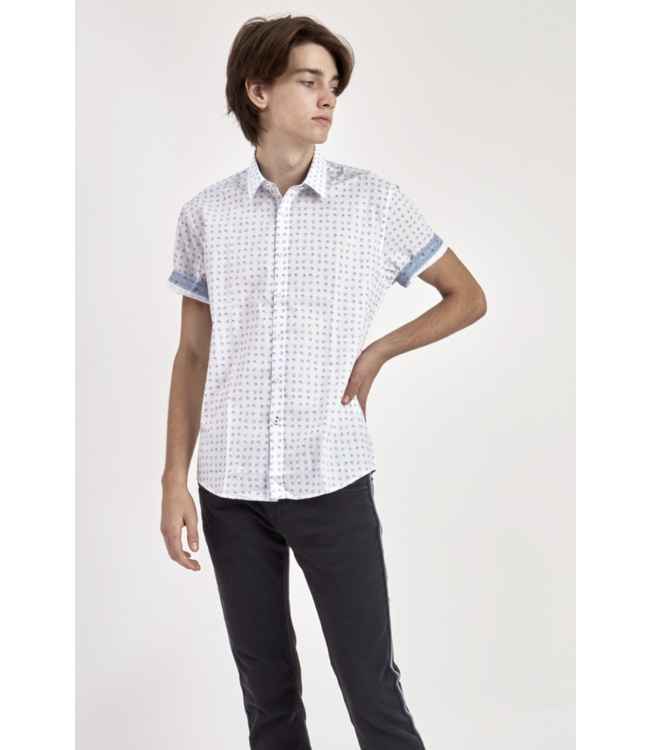 GEO PRINT BLUE ON WHITE SHORT SLEEVE SHIRT WITH CUFF DETAIL
