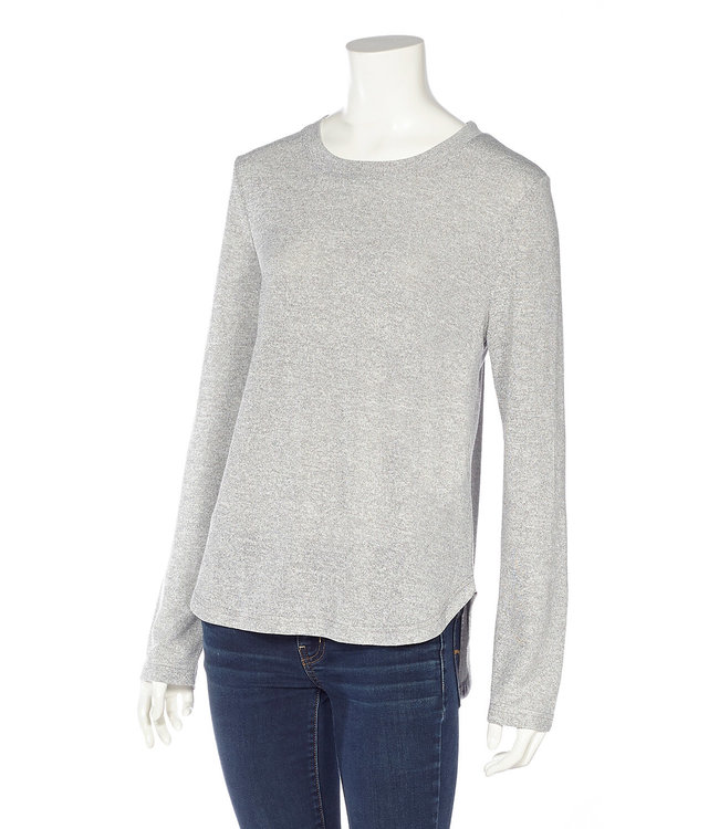 Long Sleeve Crew Neck Top with Shirttail Hem