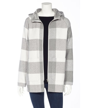 DKR Apparel Buffalo Check Long Sleeve Hooded Full Zip Jacket with Patch Pockets