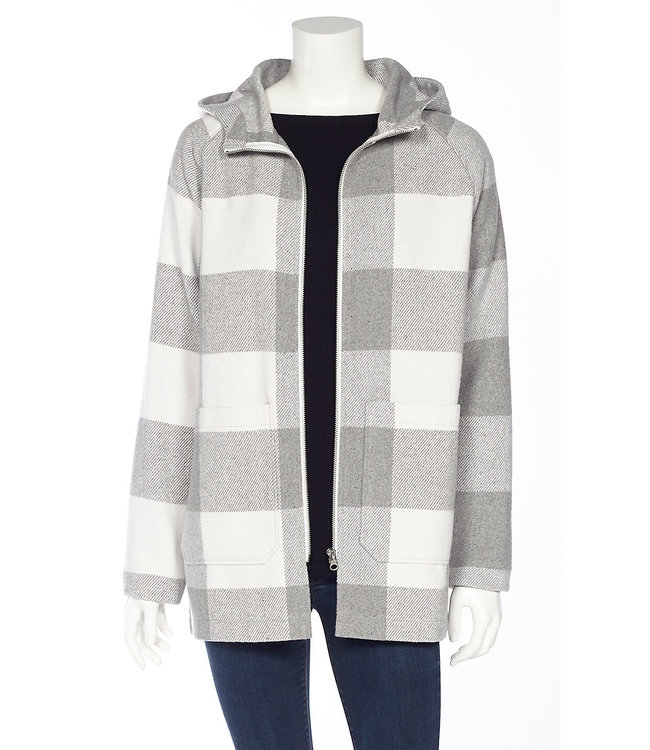 Buffalo Check Long Sleeve Hooded Full Zip Jacket with Patch Pockets