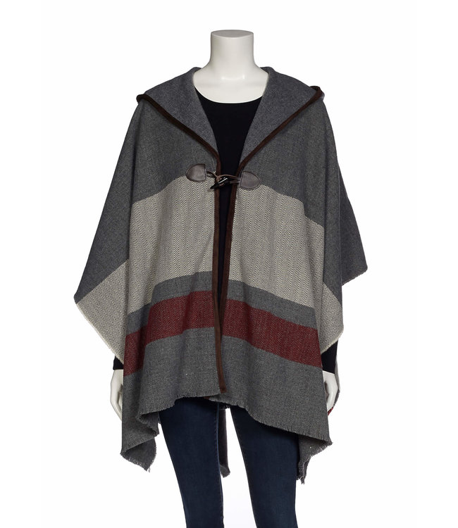 Hooded Cape with Faux Leather Trim and Toggle Closure