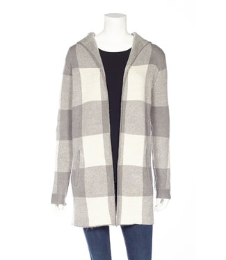DKR Apparel Buffalo Check Hooded Sweater Jacket with Pockets
