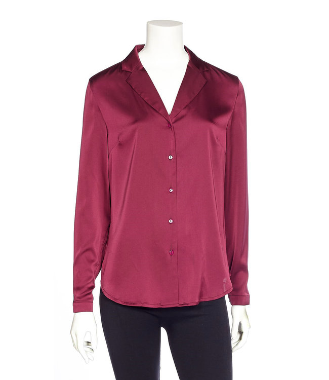 Long Sleeve Button-Up Blouse with Notched Collar and Cuff Buttons