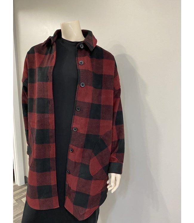 Mid Length Shirt Style Plaid Jacket