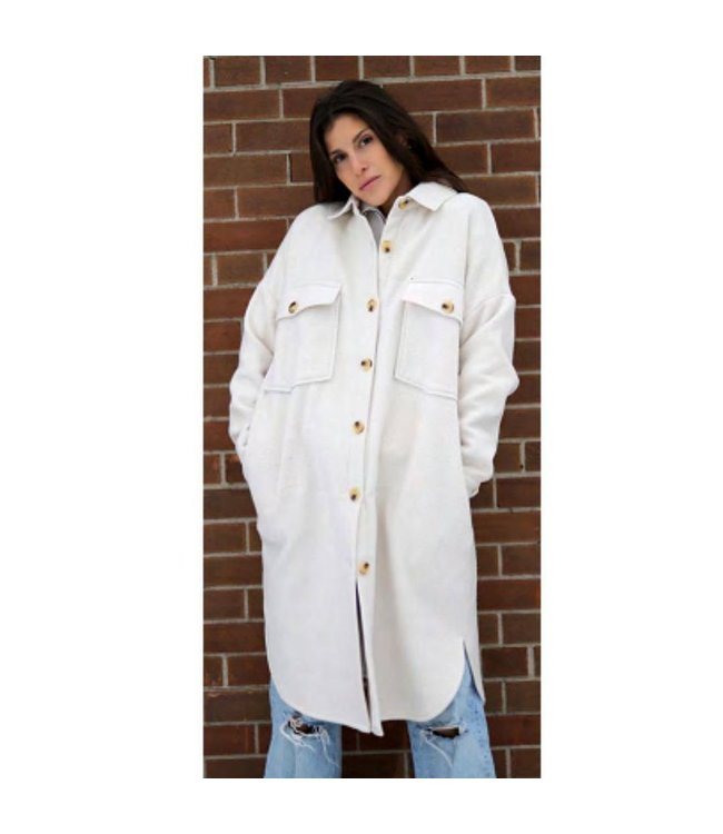 Cassey Long Length Boxed Shaped Solid Jacket (Please note this item is available in black only)