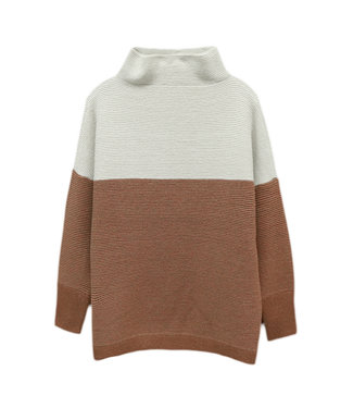 RD International Ottomoan mock neck with colorblocking detail