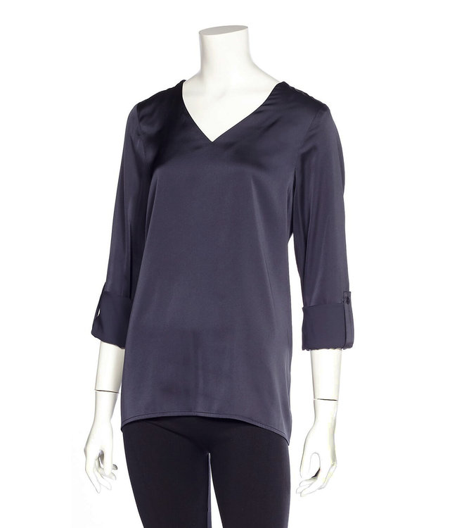 Long Sleeve V-Neck Blouse with Roll-Up Sleeve Tabs