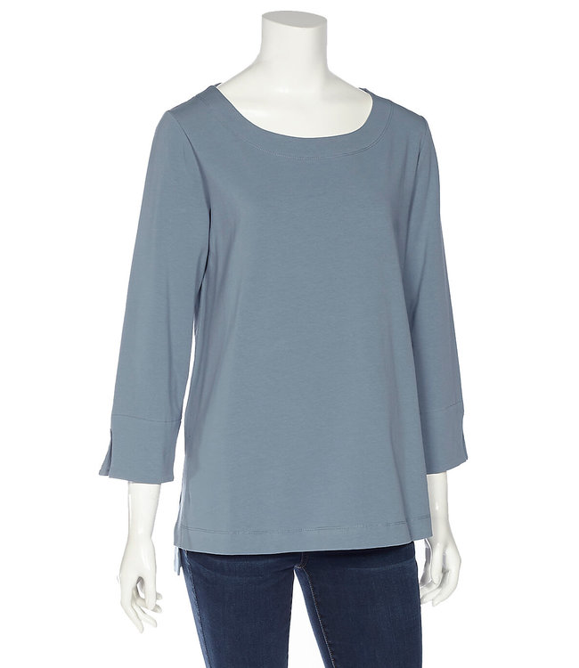 3/4 Sleeve Ballet Neck Top with Side Slits and High-Low Hem