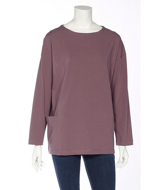 Long Sleeve Bateau Neck Top with Seam Details and Side Pockets