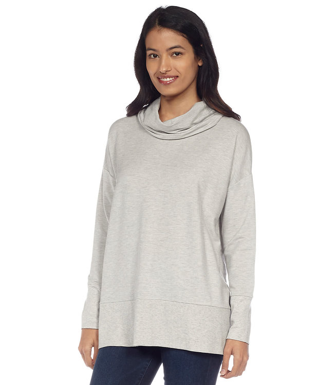 Long Sleeve Cowl Neck Top with Wide Hem and Drop Shoulder