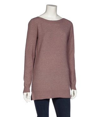 DKR Apparel Long Sleeve Boat Neck Tunic Sweater with Rib Details with Rib Details