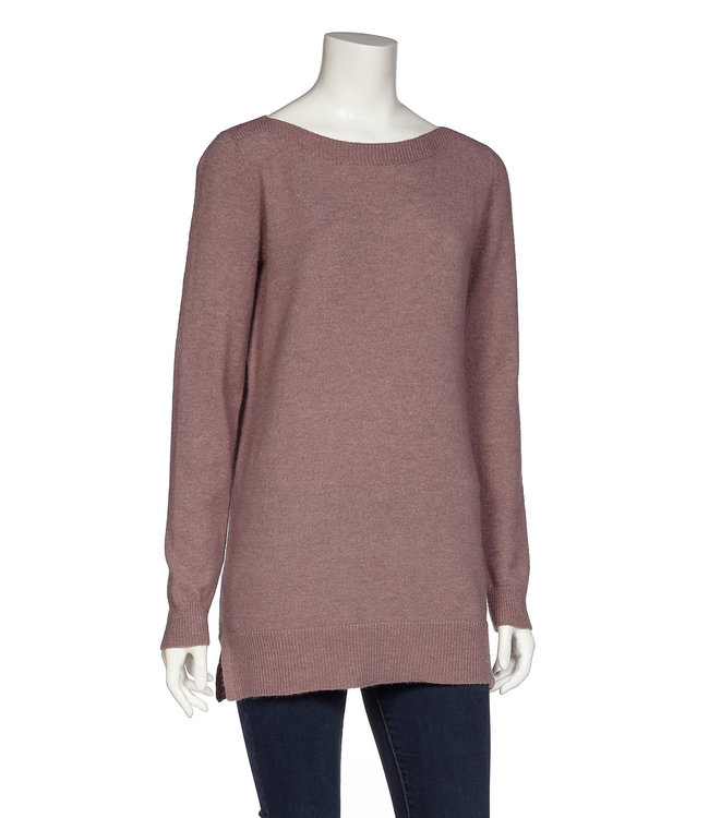 Long Sleeve Boat Neck Tunic Sweater with Rib Details