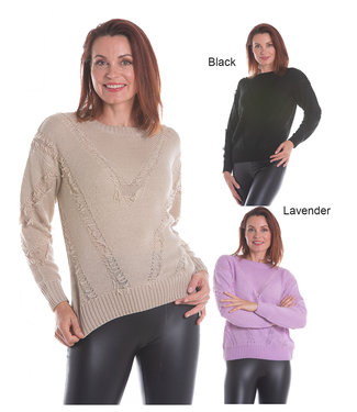 Nu Look Fashions Knit Sweater with Fringe Details