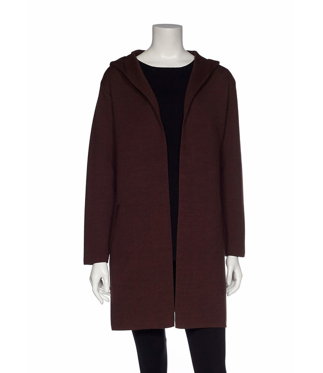 Long Sleeve Open Hooded Jacket with Centre Back Seam and Angled Welt Pockets