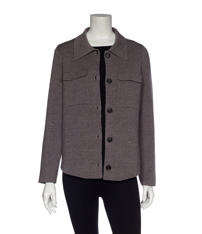 Long Sleeve Utility Button-Up Sweater Jacket with Chest Pockets