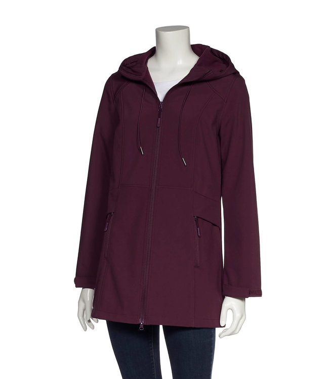 Ladies Hooded Bonded Softshell Tunic Jacket with Zipper Pockets
